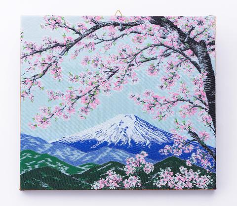 ファブリックパネル 桜と富士山