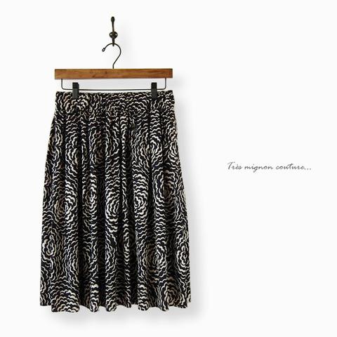リバティ puff ギャザースカート(ブラック)
