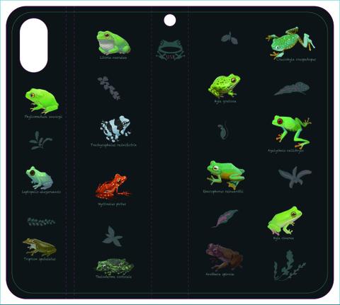 世界のカエル手帳型iPhoneケースX用