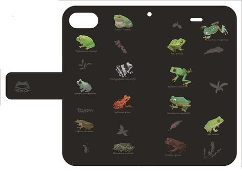 世界のカエル手帳型iPhoneケース 6,6s,7,8用