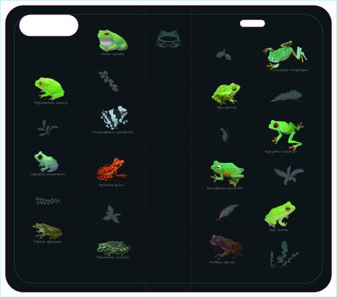 世界のカエル手帳型iPhoneケース 7plus,8plus用