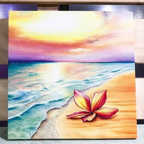 【2019年新リリース・最新作に大判サイズも新規追加】YUKI BOARD WORKSさんのチョークアート・大判キャンバスプリント Plumeria on the Beach(33cm X 33cm)