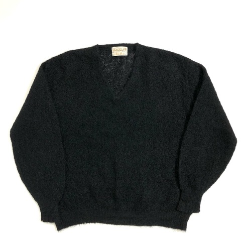 """60s Rob Scot. BLACK MOHAIR SWEATER. """"CABLE KNITTING"""""""