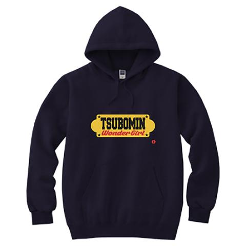 TSUBOMIN / YELLOW SIGNBOARD HOODED SWEATSHIRT NAVY