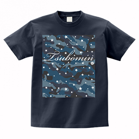 TSUBOMIN / CAMO STARS T-SHIRT DENIM BLUE