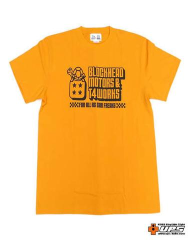 【t4works】『BLOCKHEAD MOTORS & t4works』Tシャツ ブロックヘッドイエロー Lサイズ