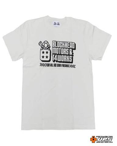 【t4works】『BLOCKHEAD MOTORS & t4works』Tシャツ ビンテージホワイト Lサイズ