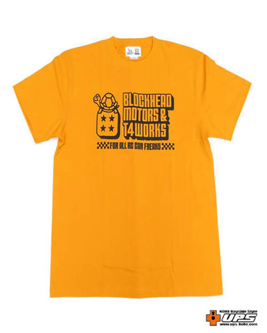 【t4works】『BLOCKHEAD MOTORS & t4works』Tシャツ ブロックヘッドイエロー Mサイズ