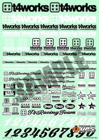 【t4works】t4works オリジナルロゴステッカー A4サイズ