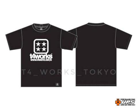 【t4works】T4シンプルラインTシャツ [ T4ダイスロゴ ]黒 Mサイズ