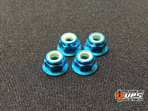 【t4works】アルミフランジロックナット 4mm(4個入り)ライトブル-