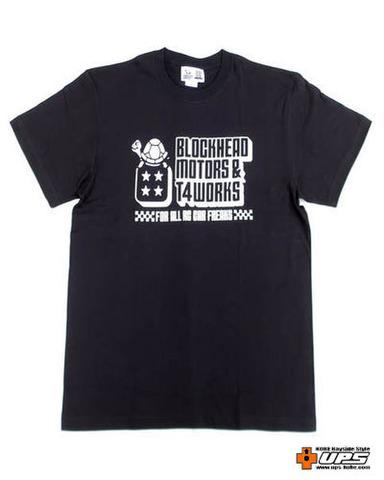 【t4works】『BLOCKHEAD MOTORS & t4works』Tシャツ ビンテージブラック XLサイズ