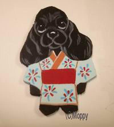 マグネット浴衣祭 Aコッカーブラック(水色)