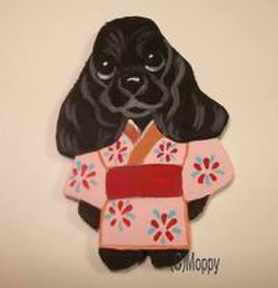 マグネット浴衣祭 Aコッカーブラック(ピンク)