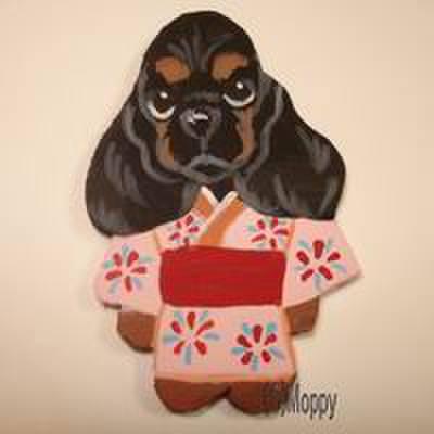 マグネット 浴衣祭Aコッカーブラックタン(ピンク)