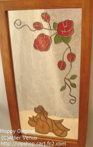 飾りミラー(薔薇とコッカーバフ)