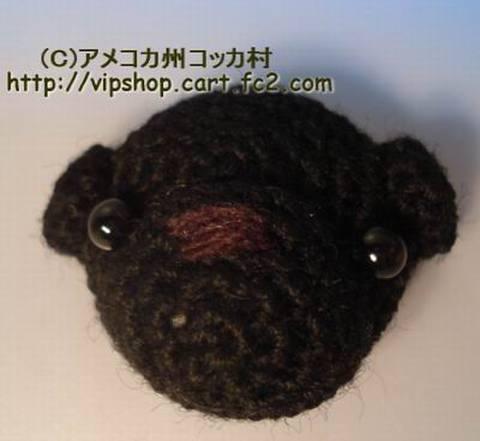 編みぐるみ マグネット パグ ブラック (オーダー受付)