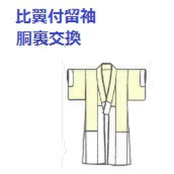 比翼付留袖の胴裏交換