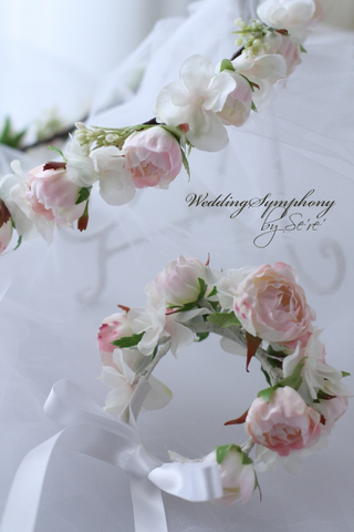 PalePink Rose花冠&リストレット シンプルライン セット
