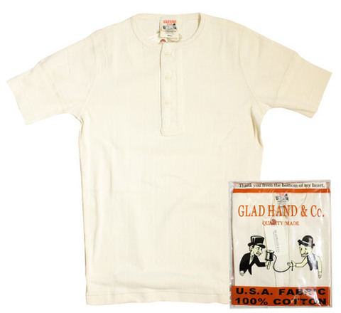 GLAD HAND-23 DROP STITCH HENRY S/S Tee WHT