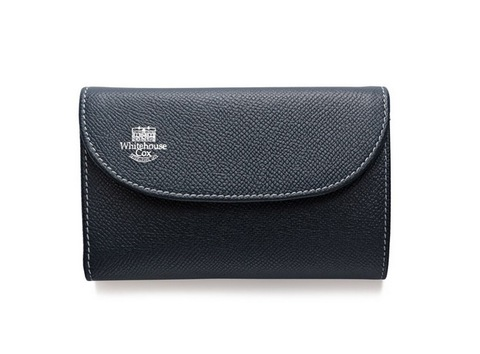 S7660 3 FOLD WALLET-London Calf-NAVY × RED