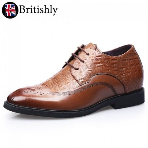 Cumbria Brown (Croc Pattern Wing Tip Formal Business Shoes) 7cmアップ