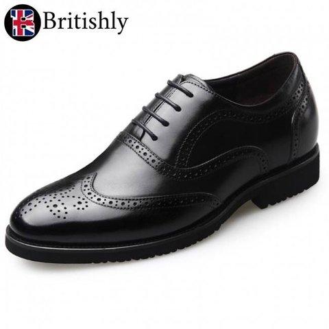 Britannia mkI Black Brogue Oxfords 6.5cmアップ