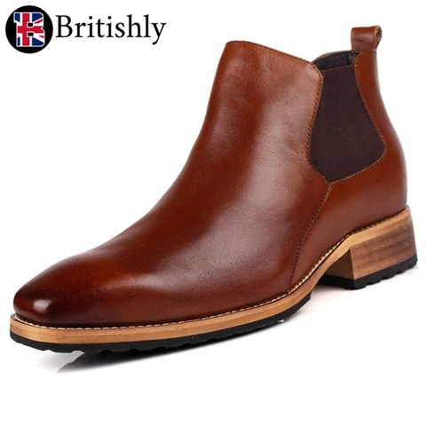 Guith brown chelsea boots 7cmアップ