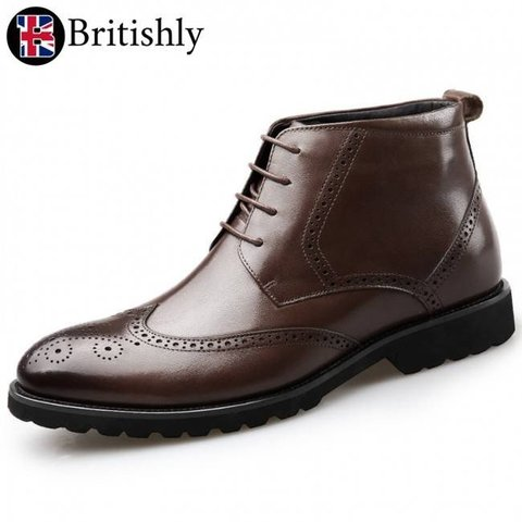 Albion Classic Brogue Dress Boot Brown 6.5cmアップ