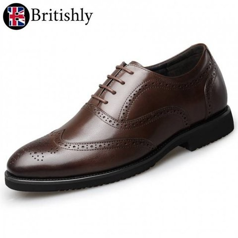 Britannia mkI Brown Brogue Oxfords 6.5cmアップ