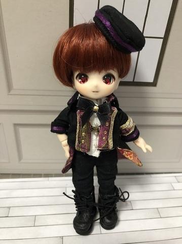 和柄軍服コートロングパンツセット(紫)