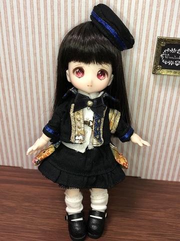 和柄軍服コートスカートセット(青)