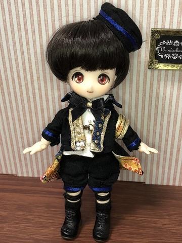 和柄軍服コートショートパンツセット(青)