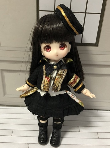 和柄軍服コートスカートセット(金茶)