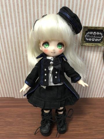軍服コートスカートセット(黒×紺ライン)
