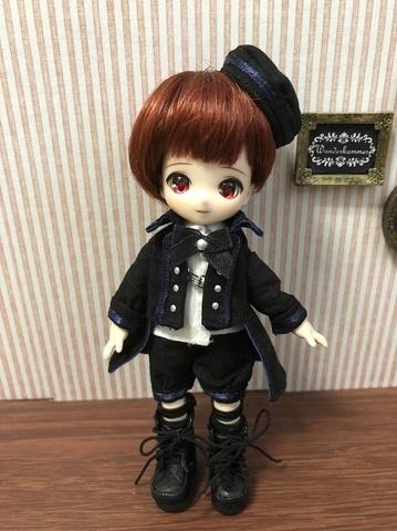 軍服コートショートパンツセット(黒×紺ライン)
