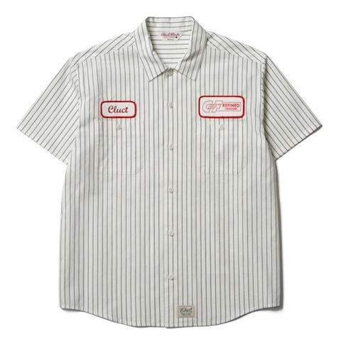 CLUCT S/S VERTICAL STRIPE WORK SHIRT