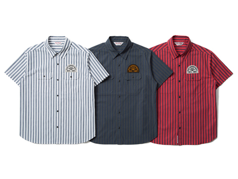 CLUCT : S/S STRIPE WORK SHIRTS