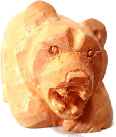 木彫り熊 木目 噛みつきベアー