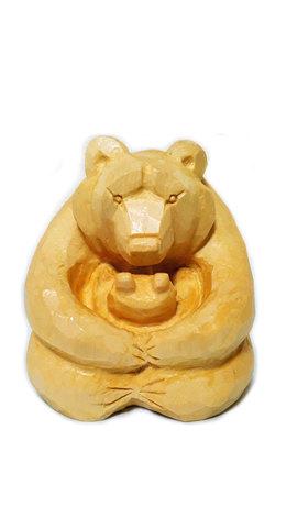木彫り熊 木目 親子熊4