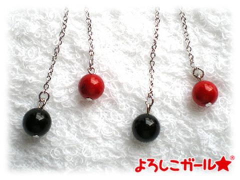 赤と黒ゆらゆらピアス(シルバー)