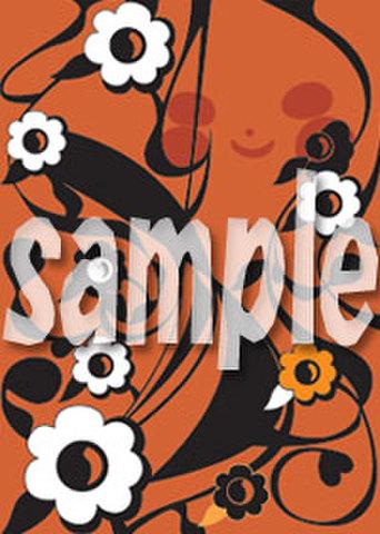 布モチーフ 橙、黒、花柄