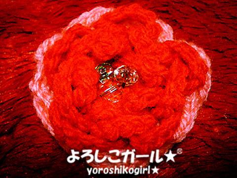 よろしこの花飾り004 ピンク&レッド(ヘアピンバッジ小)