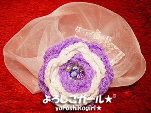 よろしこの花飾り012 パープル&ホワイト(ヘアピンバッジ大)