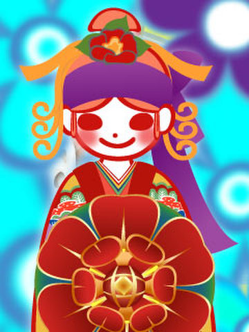 紅型よろしこガール☆(よろしこの花ブルー)