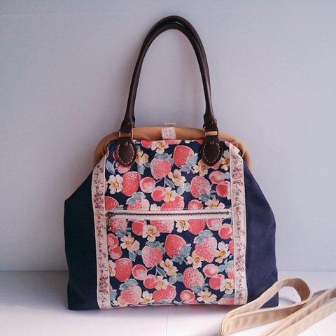 【送料無料】大人イチゴの帆布お出かけバッグ