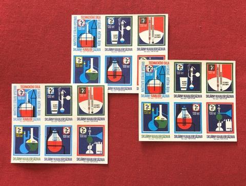 ヴィンテージマッチラベル「ガラスメーカ・Kavalierの130周年記念」」6枚1シート