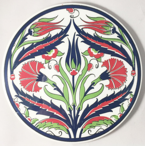 イズニックデザインのタイル丸型鍋敷