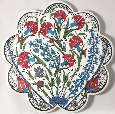 イズニックデザインのタイル花型鍋敷