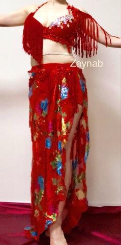 Zaynab オリエンタル衣装 ハイウエスト 草花 (赤) <Nabila モデル>